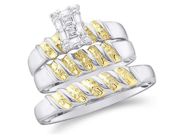 10k White and Yellow 2 Two Tone Gold Trio 3 Three Ring w/ Engagement Wedding Ring Band Set - Round and Baguette Diamonds - Emerald Shape Center Setting (1/10 cttw, H Color, I1 Clarity)