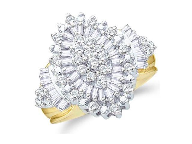 10k Yellow and White Two 2 Tone Gold Large Marquise Shape Cluster Round Cut & Baguette Diamond Engagement Ring 19mm (1.03 cttw, H Color, I1 Clarity)