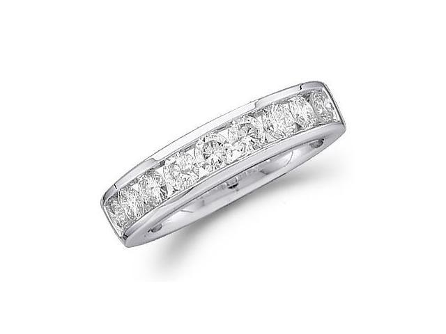 14k White Gold Round Cut Nine Diamond Channel Set Ladies Womens 9 Stone Wedding or Anniversary 4mm Ring Band (1.0 cttw, G - H Color, SI2 Clarity)