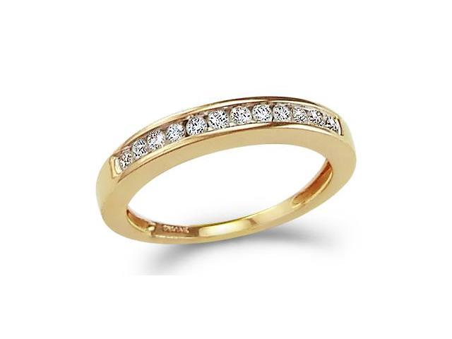 14k Yellow Gold Round Cut Twelve Diamond Ladies Womens Channel Set 12 Stone Wedding or Anniversary 3mm Ring Band (1/4 cttw, G - H Color, I1 Clarity)