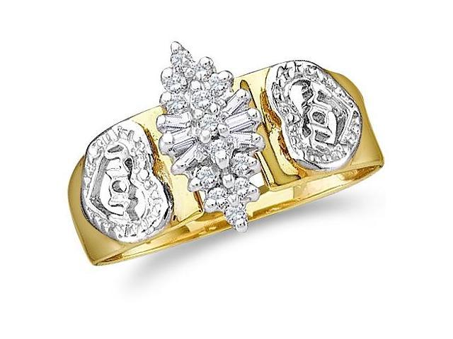 10k Yellow and White Two 2 Tone Gold MOM Mothers Day Heart Love Marquise Shape Cluster Round Cut & Baguette Ladies Diamond Fashion Ring Band 8mm (1/8 cttw, H Color, I1 Clarity)