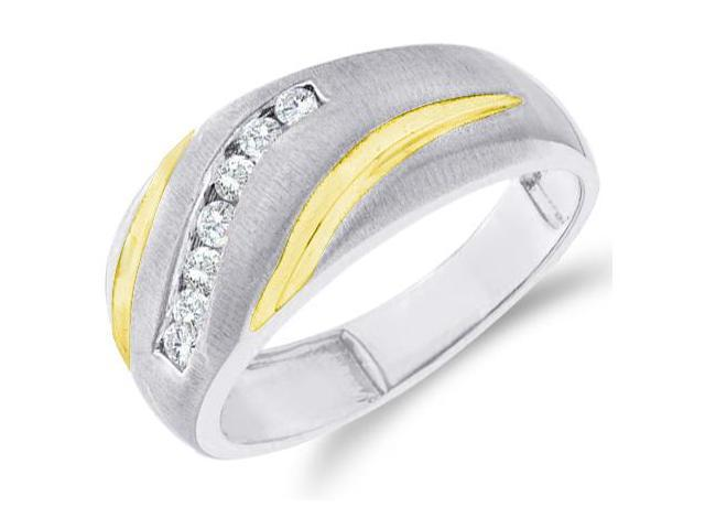 10k White and Yellow Two 2 Tone Gold Satin Finish Channel Set Round Cut Mens Diamond Wedding Ring Band 9mm (1/4 cttw, H Color, I1 Clarity)