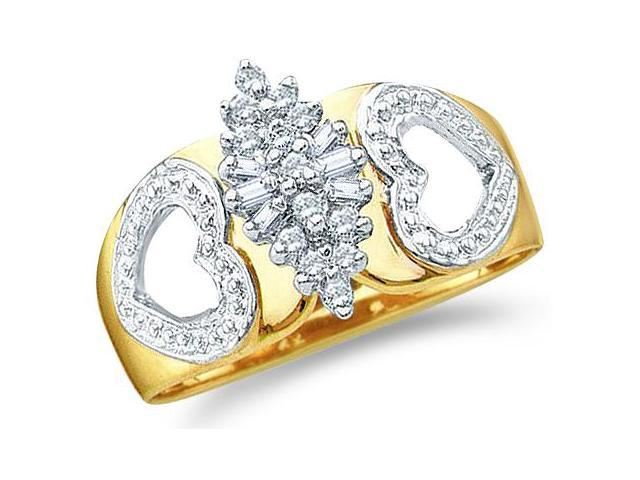 10k Yellow and White Two 2 Tone Gold Marquise Shape Heart Love Round Cut & Baguette Diamond Engagement Ring  (.15 cttw, H Color, I1 Clarity)