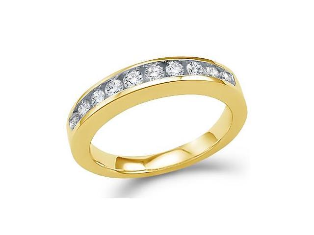 14k Yellow Gold Round Cut Diamond Ladies Womens Channel Set Wedding or Anniversary 3mm Ring Band (1/2 cttw, G - H Color, I1 Clarity)