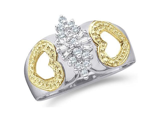 10k White and Yellow Two 2 Tone Gold Marquise Shape Heart Love Round Cut & Baguette Diamond Engagement Ring  (.15 cttw, H Color, I1 Clarity)