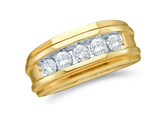 14k Yellow and White Two 2 Tone Gold Large 5 Five Stone Classic Channel Set Round Cut Mens Diamond Wedding Ring Band 8mm (1/4 cttw, G - H Color, I1 Clarity)