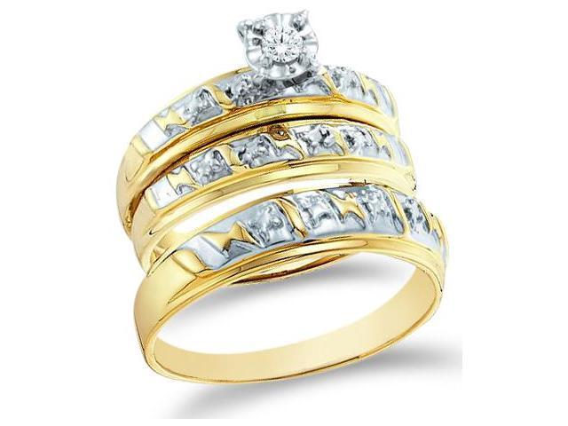 10k Yellow and White 2 Two Tone Gold Trio 3 Three Ring Matching Engagement Wedding Ring Band Set - Round Diamonds - Solitaire Center Setting (.07 cttw, H Color, I1 Clarity)
