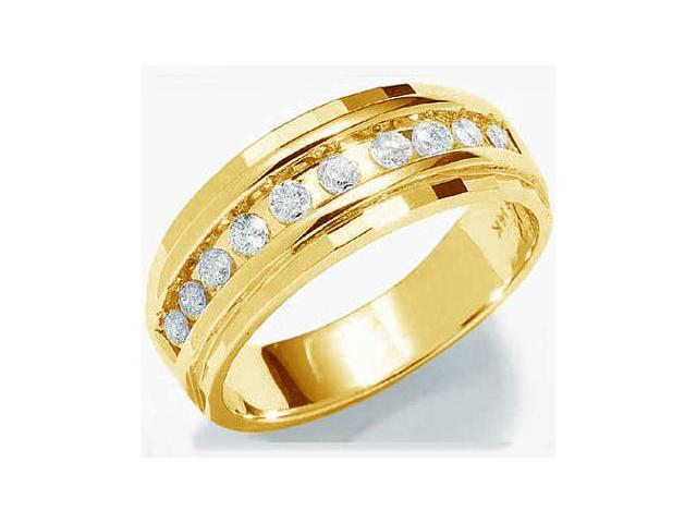 10k Yellow Gold Classic Channel Set Round Cut Mens Diamond Wedding Ring Band 7mm (1/4 cttw, H Color, I1 Clarity)