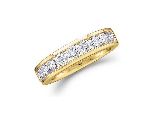 14k Yellow Gold Round Cut Nine Diamond Channel Set Ladies Womens 9 Stone Wedding or Anniversary 4mm Ring Band (1.0 cttw, G - H Color, SI2 Clarity)