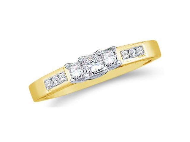 Solid 14k Yellow Gold 3 Three Stone Princess Cut Diamond Engagement or Anniversary Ring Band with Round Side stones (1/4 cttw, H Color, I1 Clarity)