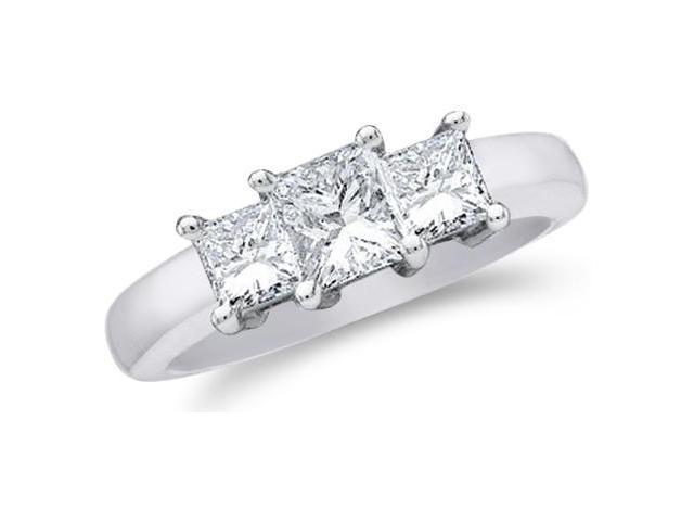 Solid 14k White Gold 3 Three Stone Princess Cut Diamond Engagement or Anniversary Ring Set in White Gold Prongs  (1.50 cttw, H Color, I1 Clarity)