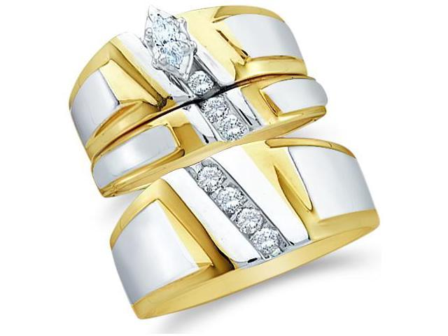 10k Yellow and White 2 Two Tone Gold Trio 3 Three Ring Matching Engagement Wedding Ring Band Set - Marquise and Round Diamonds - Solitaire Center Setting (.23 cttw, H Color, I1 Clarity)
