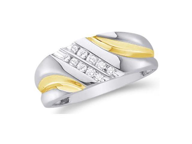 10k White and Yellow Two 2 Tone Gold Two Row 10 Stone Channel Set Round Cut Mens Diamond Wedding Ring Band 9mm (1/8 cttw, H Color, I1 Clarity)