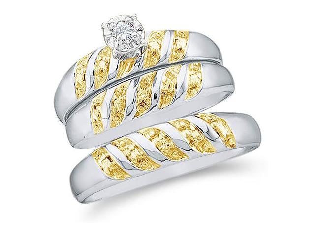 10k White and Yellow 2 Two Tone Gold Trio 3 Three Ring Matching Engagement Wedding Ring Band Set - Round Diamonds - Solitaire Center Setting (.07 cttw, H Color, I1 Clarity)