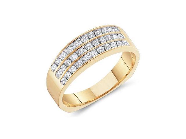 14k Yellow Gold 3 Three Row Wide Channel Set Round Cut Mens Diamond Wedding Ring Band (1/2 cttw, H Color, I1 Clarity)