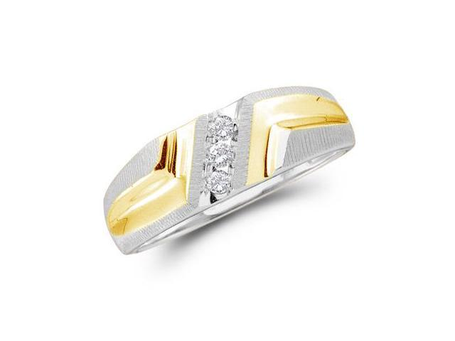 10k White and Yellow Two 2 Tone Gold Three 3 Stone Satin Finish Channel Set Round Cut Mens Diamond Wedding Ring Band 7mm (1/10 cttw, H Color, I1 Clarity)
