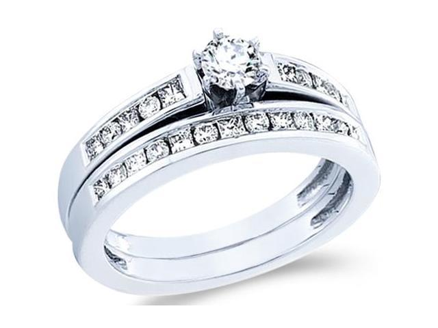 14k White Gold Diamond Ladies Engagement Ring Wedding Band Two 2 Ring Set Solitaire Side Stones Princess and Round Cut Diamond Ring  (3/4 cttw, 1/4 ct Center, G - H Color, SI2 Clarity)