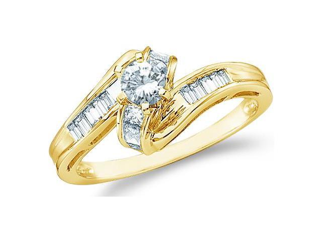 14k Yellow Gold Diamond Engagement Solitaire with Side Stones Channel Set Round Brilliant and Baguette Cut Diamond Ring  (1/2 cttw, 1/5 ct Center, G - H Color, I1 Clarity)