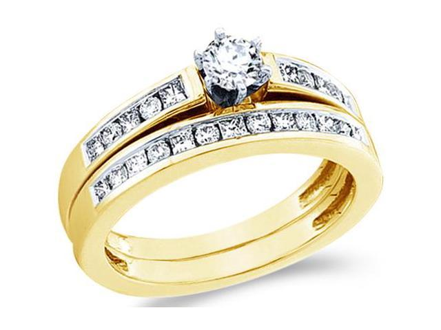 14k Yellow Gold Diamond Ladies Engagement Ring Wedding Band Two 2 Ring Set Solitaire Side Stones Princess and Round Cut Diamond Ring  (3/4 cttw, 1/4 ct Center, G - H Color, SI2 Clarity)
