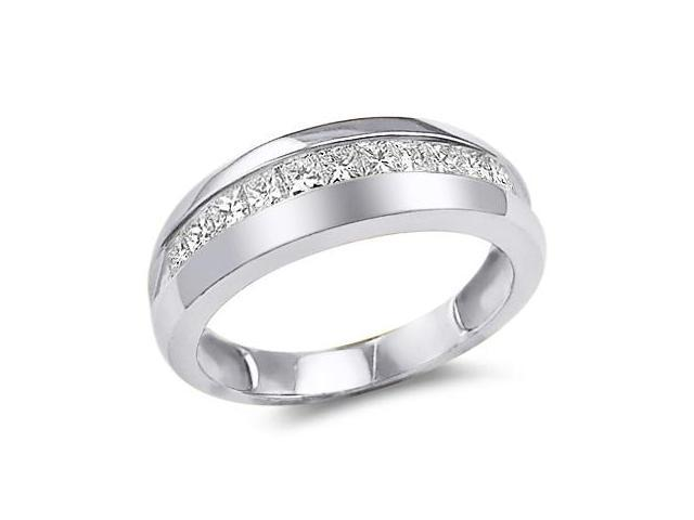 14k White Gold Classic Channel Invisible Set Princess Cut Mens Diamond Wedding Ring Band (1.0 cttw, G - H Color, SI2 Clarity)