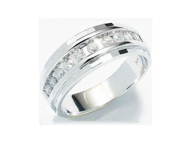 10k White Gold Classic Channel Set Round Cut Mens Diamond Wedding Ring Band 7mm (1/4 cttw, H Color, I1 Clarity)