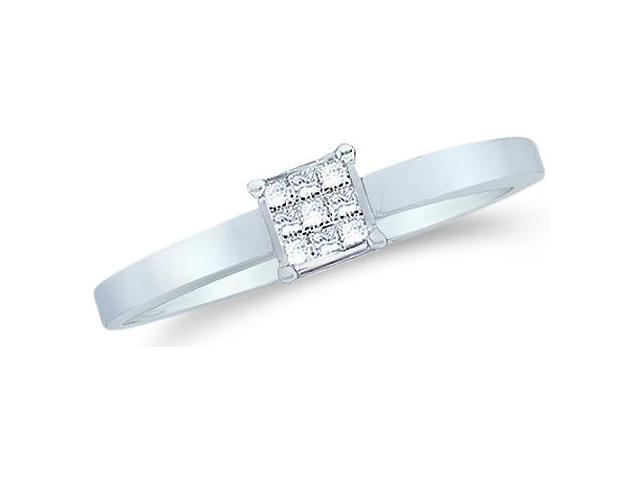 14k White Gold Diamond Engagement Solitaire Channel Invisible Type Setting Princess Cut Diamond Ring  (1/10 cttw, H Color, I1 Clarity)