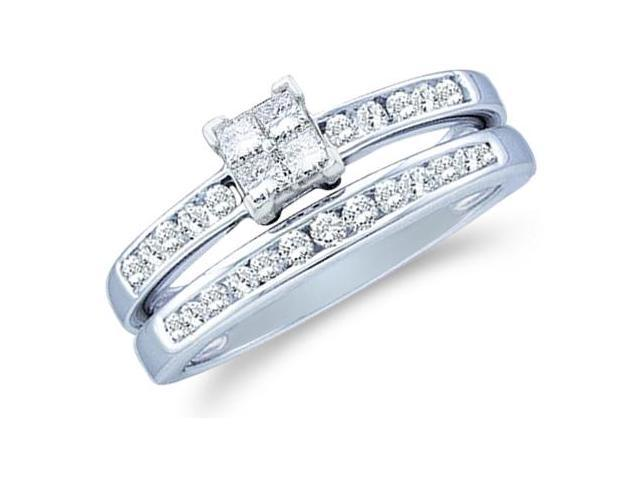 14k White Gold Diamond Engagement Ring Wedding Band Two 2 Ring Set Solitaire Style Center Setting Side Stones Princess and Round Cut Diamond Ring 5mm (1/2 cttw, G - H Color, SI2 Clarity)