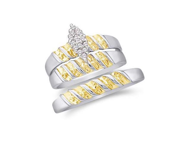 10k White and Yellow 2 Two Tone Gold Trio 3 Three Ring Matching Engagement Wedding Ring Band Set - Round Diamonds - Marquise Shape Center Setting (1/10 cttw, H Color, I1 Clarity)