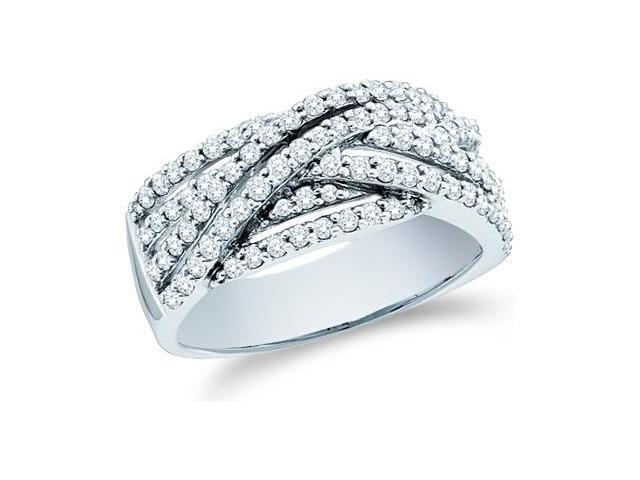 14k White Gold Round Cut Diamond Ladies Womens Cross Over Anniversary Fashion Ring Band (.88 cttw, G - H Color, SI2 Clarity)