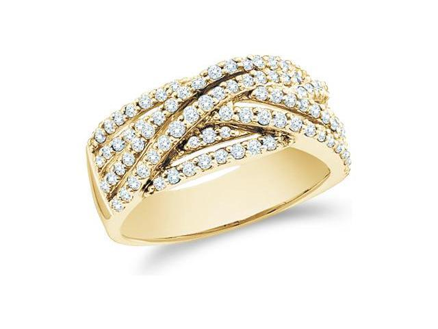 14k Yellow Gold Round Cut Diamond Ladies Womens Cross Over Anniversary Fashion Ring Band (.88 cttw, G - H Color, SI2 Clarity)