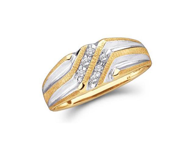 14k Yellow and White Two 2 Tone Gold Six 6 Stone Two Row High Polish and Satin Finish Channel Set Round Cut Mens Diamond Wedding Ring Band (.14 cttw, H Color, I1 Clarity)