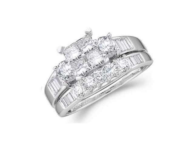 14k White Gold Diamond Engagement Ring Wedding Band Two 2 Ring Set Solitaire Three 3 Stone Style Center Setting Five 5 Stone Large  Diamond Ring 7mm (2.0 cttw, G - H Color, SI2 Clarity)