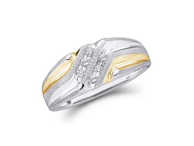 14k White and Yellow Two 2 Tone Gold Six 6 Stone Two Row High Polish and Satin Finish Channel Set Round Cut Mens Diamond Wedding Ring Band (.14 cttw, H Color, I1 Clarity)