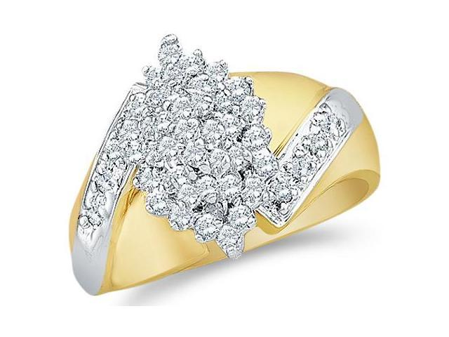 14k Yellow and White Two 2 Tone Gold Large Marquise Shape Cluster Round Cut Diamond Engagement Ring 15mm (1/2 cttw, H Color, I1 Clarity)