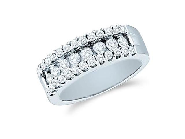 14k White Gold Round Cut Diamond Ladies Womens Wedding or Anniversary Ring Band (1.0 cttw, G - H Color, SI2 Clarity)