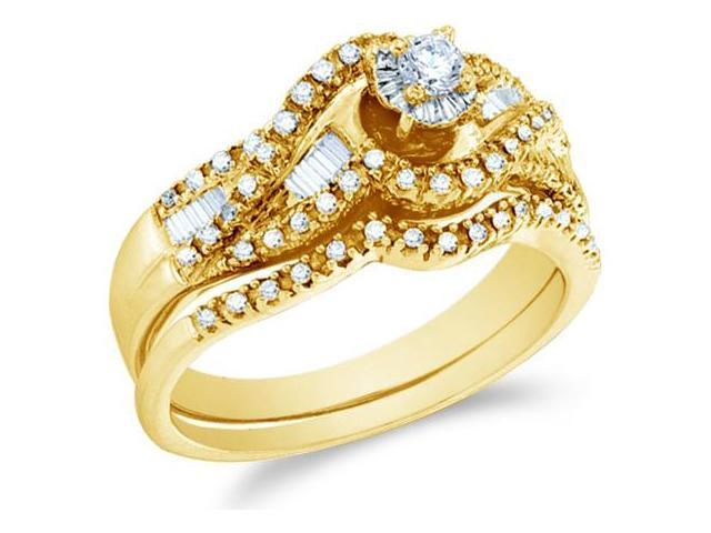 14k Yellow Gold Diamond Ladies Engagement Ring Wedding Band Two 2 Ring Set Solitaire Side Stones Channel Pave Set Round and Baguette Cut Diamond Ring  (1/2 cttw, H Color, I1 Clarity)