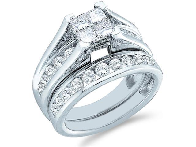 14k White Gold Diamond Engagement Ring Wedding Band Two 2 Ring Set Solitaire Style Center Setting Side Stones Princess and Round Cut Diamond Ring 6mm (1.0 cttw, G - H Color, SI2 Clarity)