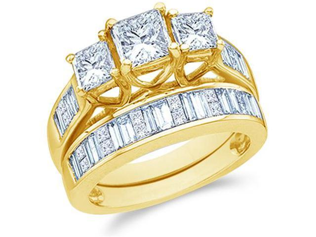 14k Yellow Gold Diamond Engagement Ring Wedding Band Two 2 Ring Set Three 3 Stone Side Stones Princess Cut and Baguette Diamond Ring 5mm (2.0 cttw, 3/5 ct Center, G - H Color, SI2 Clarity)