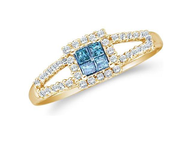14k Yellow Gold Blue Diamond Princess and Round Cut Diamond Engagement Ring  (1/3 cttw, H Color, I1 Clarity)