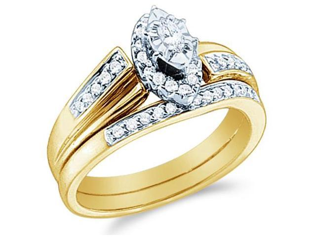 14k Yellow Gold Diamond Engagement Ring Wedding Band Two 2 Ring Set Solitaire Side Stones Emerald Shape Center Marquise and Round Cut Diamond Ring 3mm (1/3 cttw, G - H Color, I1 Clarity)