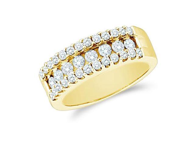 14k Yellow Gold Round Cut Diamond Ladies Womens Wedding or Anniversary Ring Band (1.0 cttw, G - H Color, SI2 Clarity)