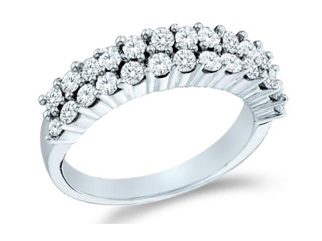 14k White Gold Round Cut Diamond Ladies Womens Two Row Wedding or Anniversary Ring Band (1.0 cttw, G - H Color, I1 Clarity)