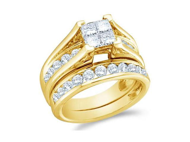 14k Yellow Gold Diamond Engagement Ring Wedding Band Two 2 Ring Set Solitaire Style Center Setting Side Stones Princess and Round Cut Diamond Ring  (2.0 cttw, G - H Color, SI2 Clarity)