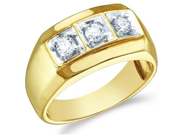 10k Yellow and White Two 2 Tone Gold Three 3 Stone Channel Set Round Cut Mens Diamond Wedding Ring Band (1/2 cttw, H Color, I1 Clarity)