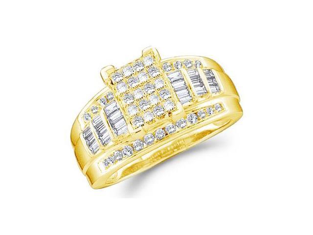 14k Yellow Gold Large Emerald Shape Invisible Channel Set Princess , Round & Baguette Ladies Diamond Engagement Wedding Ring Band 11mm (4.0 cttw, G - H Color, SI2 Clarity)