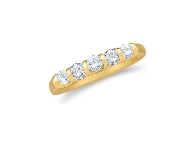 14k Yellow Gold Round Cut Five Diamond Ladies Womens 5 Stone Wedding or Anniversary Ring Band (1/2 cttw, G - H Color, SI2 Clarity)