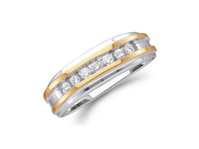 10k Yellow and White Two 2 Tone Gold Seven 7 Stone Channel Set Round Cut Mens Diamond Wedding Ring Band (1/4 cttw, H Color, I1 Clarity)