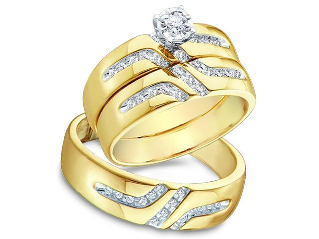 10k Yellow and White 2 Two Tone Gold Trio 3 Three Ring Matching Engagement Wedding Ring Band Set - Round Diamonds - Solitaire Center Setting (1/4 cttw, H Color, I1 Clarity)