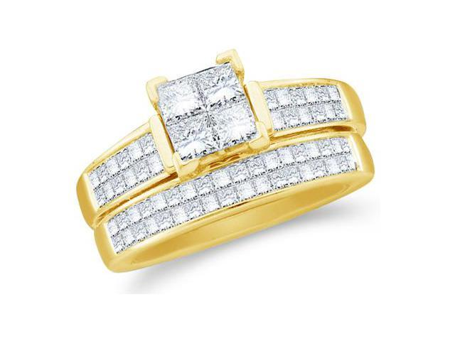14k Yellow Gold Diamond Engagement Ring Wedding Band Two 2 Ring Set Solitaire Style Center Setting Side Stones Princess and Round Cut Diamond Ring 7mm (1.50 cttw, G - H Color, SI2 Clarity)