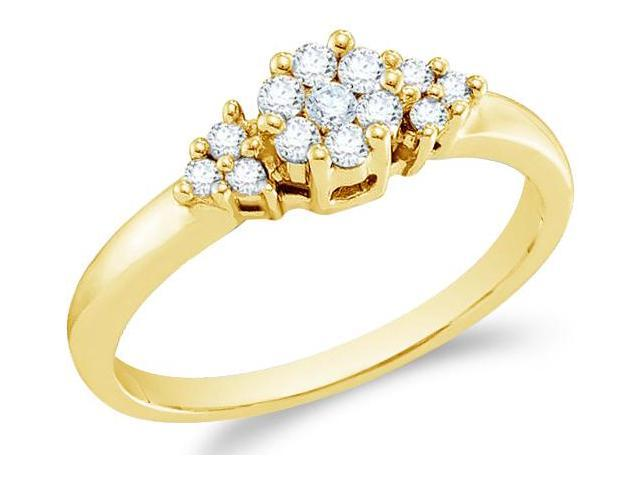 14k Yellow Gold Three 3 Stone Style Round Cut Diamond Engagement Ring 5mm (1/4 cttw, H Color, I1 Clarity)